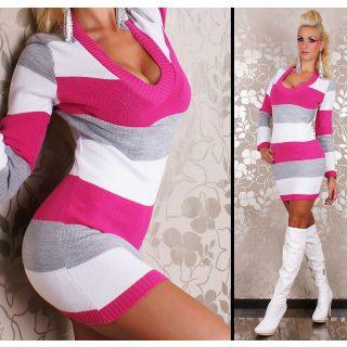 Pink fehér szürke csíkos V - kivágott kötött tunika