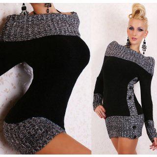 Fekete vállra lehúzható kötött női tunika