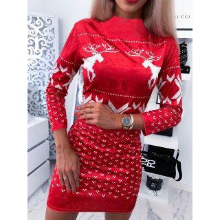 Piros karácsonyos garbós bársony női ruha