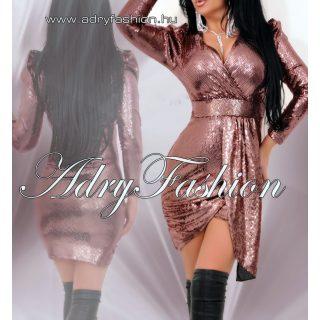 Bronz  színű flitteres átlapolt alkalmi női ruha