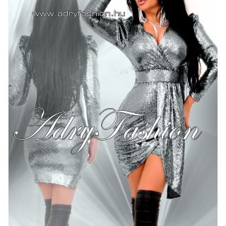 Ezüst színű flitteres átlapolt alkalmi női ruha