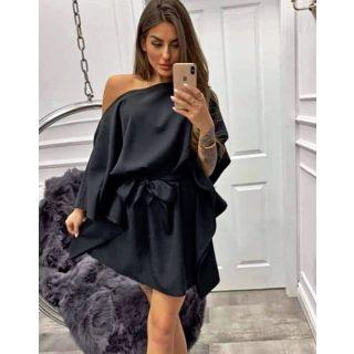 Fekete színű lenge lepel ruha derekán megkötős