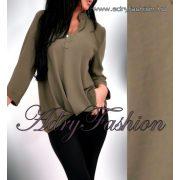 Keki színű elöl rövidebb hátul hosszabb laza női ing gomb dísszel