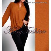 Csau barna színű elöl rövidebb hátul hosszabb laza női ing gomb dísszel
