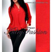 Bordó színű elöl rövidebb hátul hosszabb laza női ing gomb dísszel