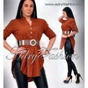 Csau barna színű buggyos ing gombos