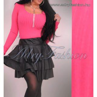 Pink kerek nyakú bordás női felső