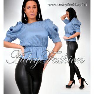 Kék szatén gumis női ing