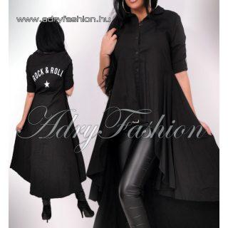 Fekete elöl rövidebb hátul hosszabb  női ing hosszított