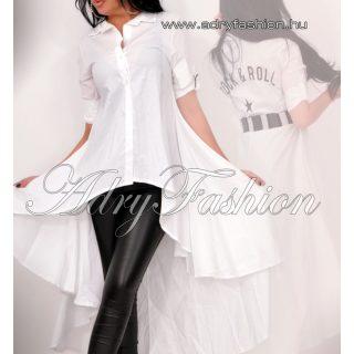 Fehér elöl rövidebb hátul hosszabb  női ing hosszított