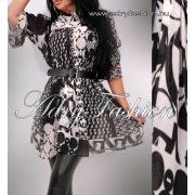 Fekete fehér mellénél  húzott női ing öv dísszel