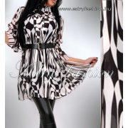 Fekete fehér mintás mellénél húzott női ing öv dísszel