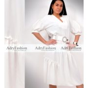 Fehér alul fodros női lenge ruha