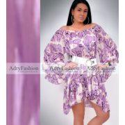 Muszlin Lila színű  virág mintás lenge női ruha - öv nélkül