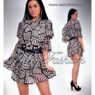 Fekete fehér kockás mintás mellénél húzott női ing öv dísszel