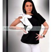 Fekete fehér fodor díszes pamut póló