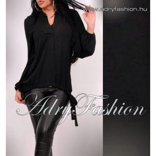 Fekete elöl húzott női ing
