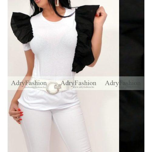 Fehér fekete dupla fodor díszes pamut póló