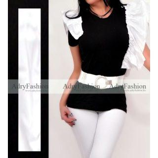 Fekete fehér dupla fodor díszes pamut póló