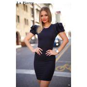 La Pierre fekete vállán fodros női ruha