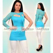 Türkiz csipkés félvállas női ruha - tunika