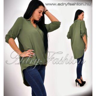 Keki SZÍNŰ  átlapolt női laza ing elől rövidebb hátul hosszabb