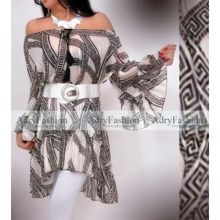 Fehér alapon fekete színű  görög mintás női ruha - öv nélkül