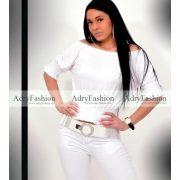 Fehér  színű vállra húzható gumírozott női felső