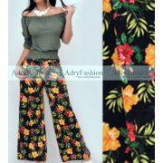 Fekete trópusi virág mintás zsebes női nadrág