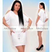 Fehér színű derekán megkötős pamut nyári ruha