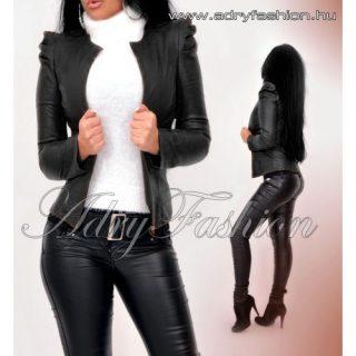 Fekete színű buggyos ujjú műbőr  blézer zakó