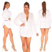 Fehér színű derekánál karcsúsított női ing - öv nélkül