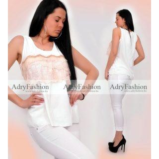 Fehér Arany csipke - flitter díszes trikó