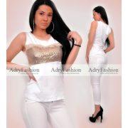 Fehér Arany flitter díszes trikó