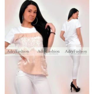 Fehér Bézs gyöngyházas csipke díszes póló