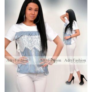 Fehér Kék gyöngyházas csipke díszes póló