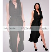 Átlapolt galléros női ruha  fekete