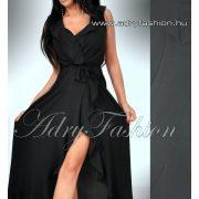 Fekete fodros átlapolt elegáns női ruha