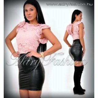 Rózsaszín elegáns csipkés fodros alkalmi elegáns női body