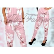 Mályvás Rózsaszín tulipán virág mintás zsebes női nadrág