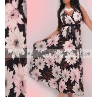 Fekete alapon Tavaszi virág mintás  női ruha megkötős