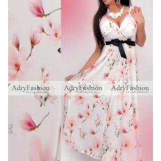 Fehér  barack virág mintás  női ruha megkötős