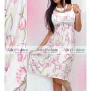 Fehér alapon  pink virág mintás  női ruha mell alatt gumis