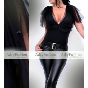Fekete tüll díszes alkalmi női body
