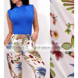 Kék virág Mintás zsebes  nadrág