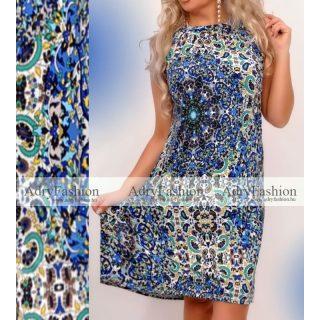 Kék mintás Á vonalú lenge nyári ruha - öv nélkül