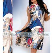 Kék - pink - bézs Á Vonalú női ruha arany dísszel