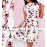 Fehér alapon pink virág mintás női ruha mell alatt gumis A