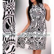 Fekete fehér mintás Á Vonalú lenge női ruha
