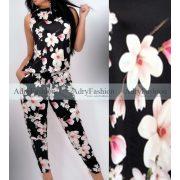 Fekete virág mintás felső és zsebes nadrág szett